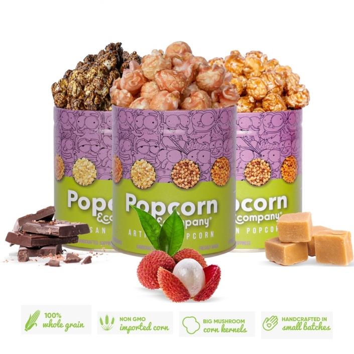 Caramel Krisp, Crunchy Lichi & Choco Caramel Popcorn Regular Tin (Pack of 3) 390 GM