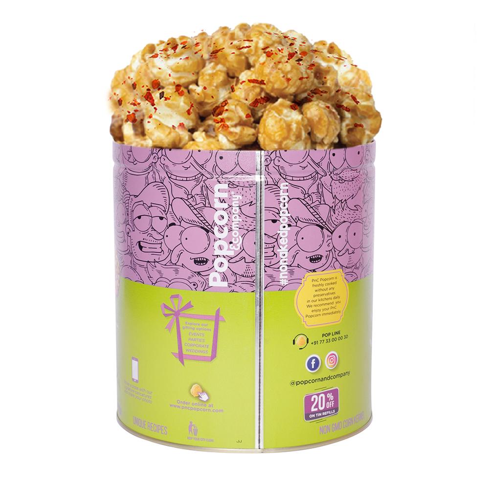 Chilli Caramel Popcorn Large Tin Back