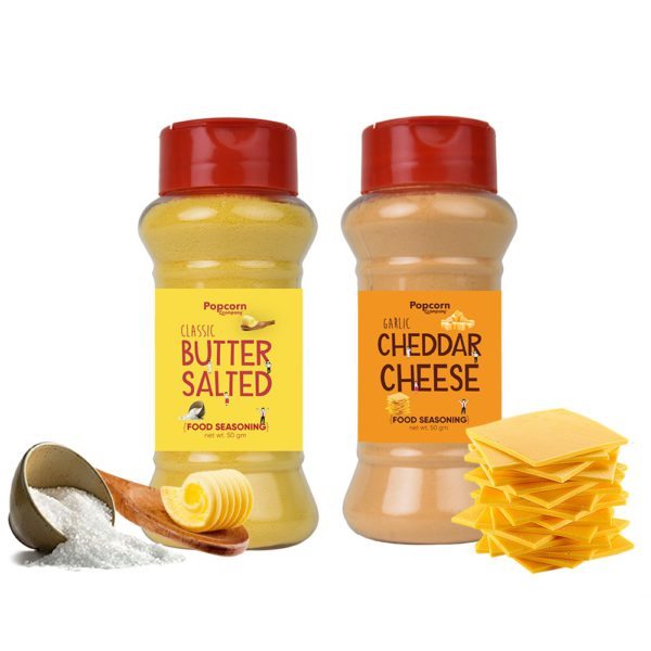Classic Butter Salted + Cheddar Cheese Popcorn Seasoning 140 GM (Pack of 2)