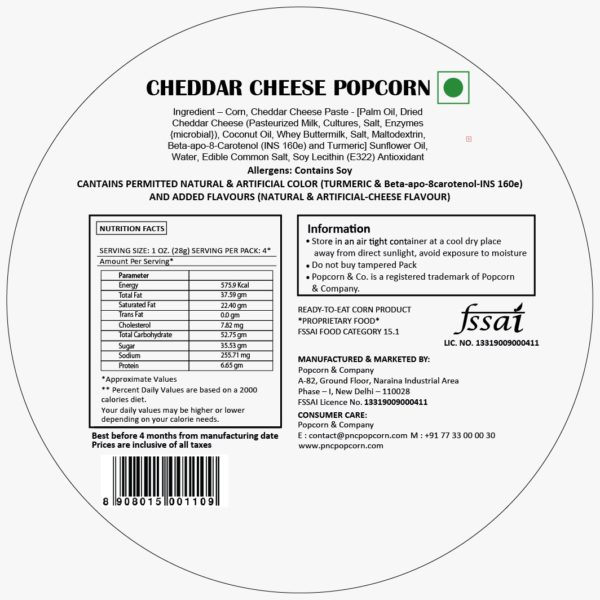 FL - Cheddar Cheese Popcorn Regular Tin 60 GM
