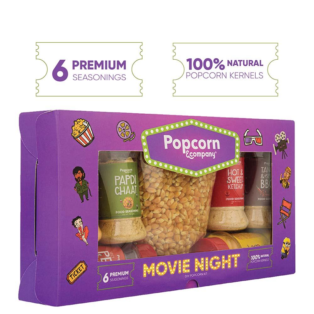 Movie Night – DIY Popcorn Kit, Seasoning Variety Pack (Set of 6)