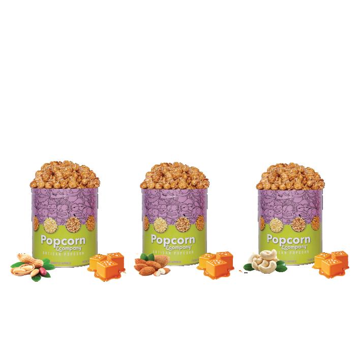 Peanut, Almond & Cashew Caramel Krisp Popcorn Regular Tin (Pack of 3)