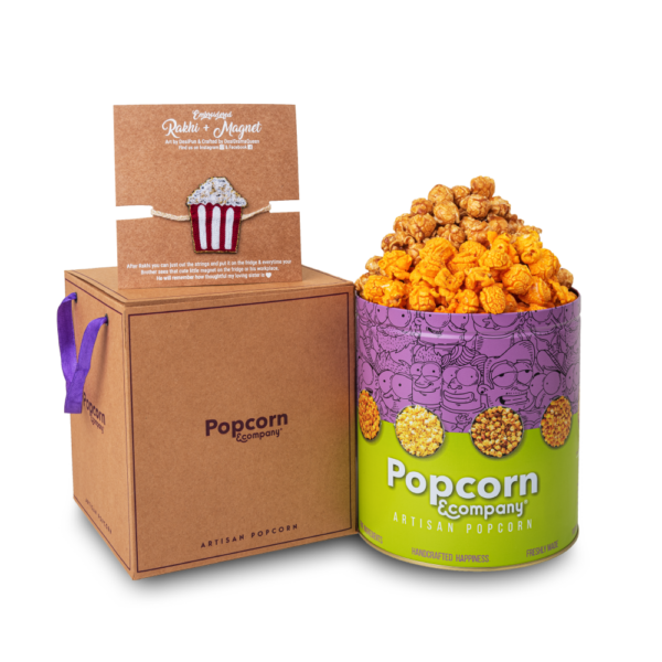 Popcorn Handcrafted Magnet Rakhi with Half Caramel & Half Cheese Party Pack