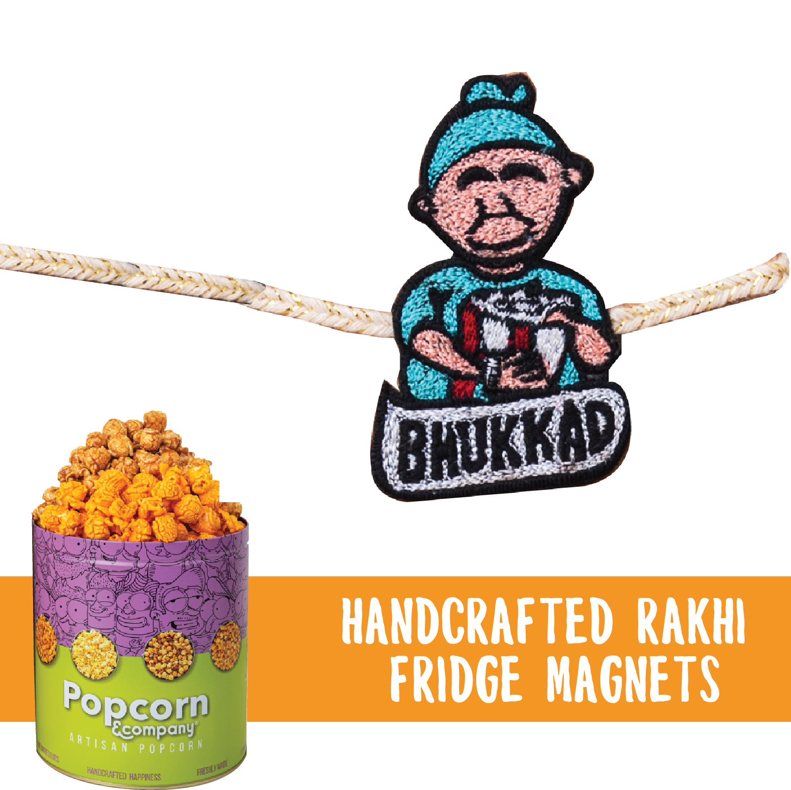 Bhukkad Handcrafted Magnet Rakhi with Half Caramel & Half Cheese Party Pack
