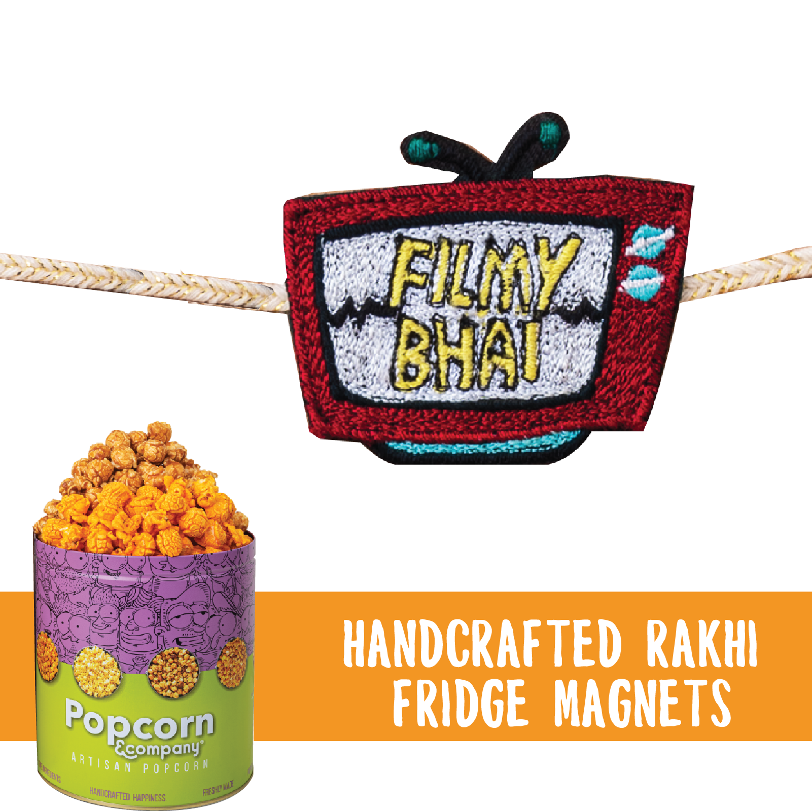 Filmy Bhai Handcrafted Magnet Rakhi with Half Caramel & Half Cheese Party Pack